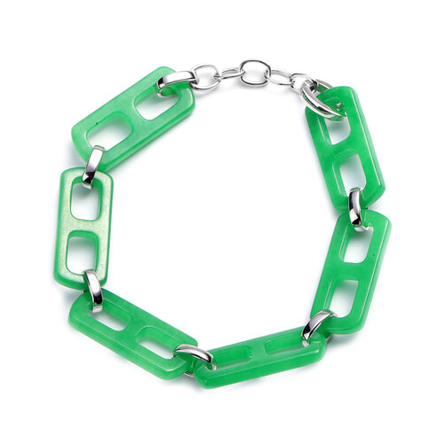 Green Jade Bracelet (Size 8) in Rhodium overlay Sterling Silver 59.750  Ct.