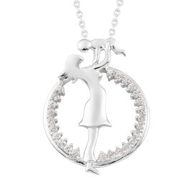 Zircon Pendant with Chain in Platinum Overlay Sterling Silver 0.50 ct  0.500  Ct.