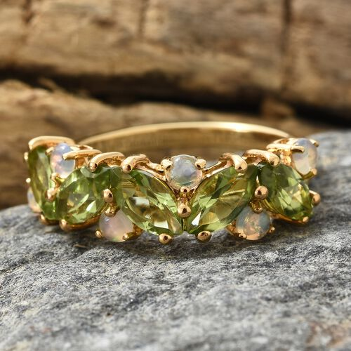 Hebei Peridot (Mrq), Ethiopian Welo Opal Leaf Ring in 14K Gold Overlay Sterling Silver 3.250 Ct.