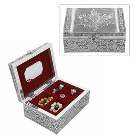 Oxidized Jewelry Box with Tray Flower & Leaf Pattern