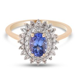 9K Yellow Gold Tanzanite and Natural Cambodian Zircon Double Halo Ring 1.15 Ct