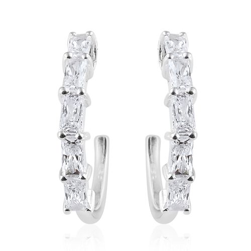 J Francis - Sterling Silver (Bgt) J Hoop Earrings (with Push Back) Made with SWAROVSKI ZIRCONIA