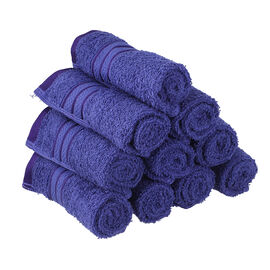 Set of 10 - 100%Egyptian Cotton Face Towel (Size:30x30Cm) - Navy