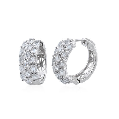 White Topaz (Ovl) Hoop Earrings (with Clasp Lock) in Platinum Overlay Sterling Silver 5.794 Ct. Silver wt 8.70 Gms.