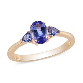 9K Yellow Gold AA Tanzanite Ring 1.00 Ct.