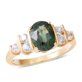 Limited Edition- 9K Yellow Gold AAA Songea Green Sapphire (Ovl), Natural White Cambodian White Zircon Ring 2.000 Ct