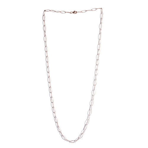 Rose Gold Overlay Sterling Silver Diamond Cut Open Oval Rolo Chain (Size 30), Silver wt 5.50 Gms.
