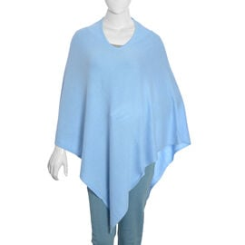 Limited Available - 100% Himalayan Pashmina Wool Poncho - Light Blue Colour (Free Size/70x70Cm)