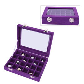 24 Sections Jewellery Box Organiser with Velvet Lining and Transparent Window (Size 20x15x4.5cm) - P