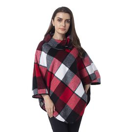 Red Wine, Black and White Colour Plaid Pattern Cape with Collar and Button (Size 81x99 Cm)