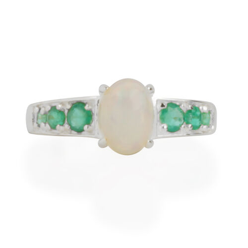 Ethiopian Welo Opal (Ovl), Brazilian Emerald Ring in Sterling Silver  1.260 Ct.
