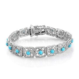 AA Arizona Sleeping Beauty Turquoise Bracelet (Size 7.5) in Platinum Overlay Sterling Silver 4.50 Ct