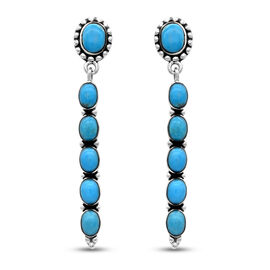 Santa Fe Collection - Turquoise Earrings (with Push Back) in Rhodium Overlay Sterling Silver 8.00 Ct