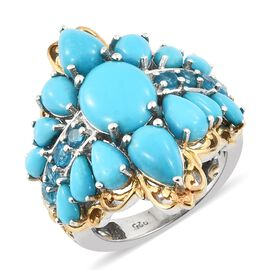Arizona Sleeping Beauty Turquoise (Ovl 2.65 Ct), Malgache Neon Apatite Ring in Platinum and Yellow G