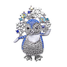 White Austrian Crystal Enamelled Penguin Brooch in Silver Tone
