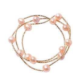 Freshwater Peach Pearl Stretchable Necklace (Size 20) or Bracelet (Size 7) in Gold Tone
