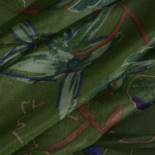 100% Mulberry Silk Green, Blue and Multi Colour Hand Screen Floral Printed Scarf (Size 200X180 Cm)