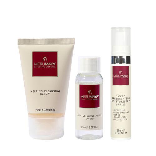 MeruMaya: Skincare Starter Set (Incl. Melting Cleansing Balm - 25ml, Gentle Exfoliating Toner - 30ml