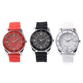 Set of 3 - STRADA Japanese Movement Water Resistant Watch in Stainless Steel with Red, Black and Whi
