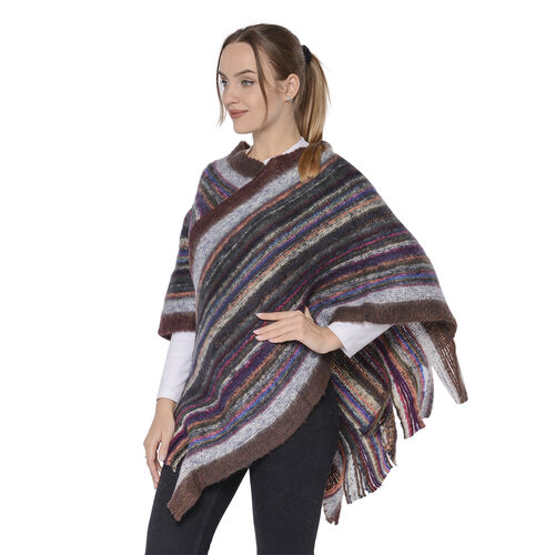 New Arrival Spring Style Striped Poncho with Brown Border and Tassel Hem