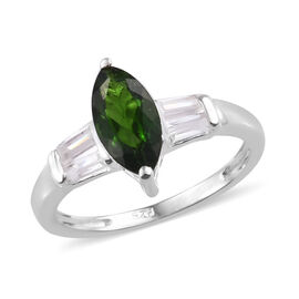 Russian Diopside (Mrq 1.00 Ct), White Topaz Ring in Sterling Silver 1.500 Ct.