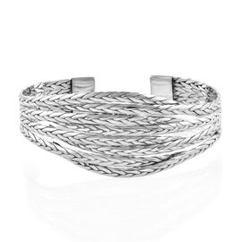 High Polished Sterling Silver Cuff Bangle (Size 7.5), Silver wt 36.50 Gms.