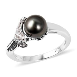 Tahitian Pearl (Rnd 8-9 mm), Natural White Cambodian Zircon and London Blue Topaz Ring in Sterling S