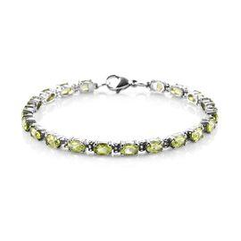 Peridot Bracelet (Size 7) in Stainless Steel 9.73 Ct.