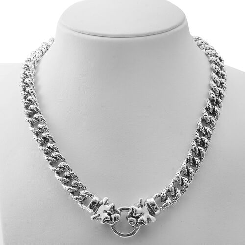 Designer Inspired Sterling Silver Panther Head Curb Necklace (Size 20), Silver wt 77.50 Gms.