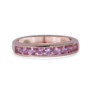One Time Deal- Madagascar Pink Sapphire Half Eternity Band Ring in Rose Gold Overlay Sterling Silver
