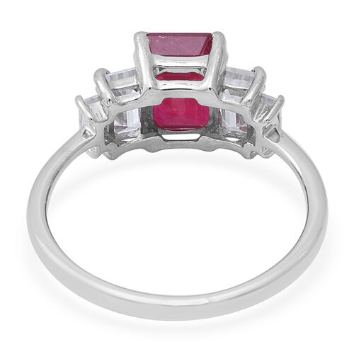 9K White Gold AA African Ruby and Natural Cambodian Zircon Ring 3.76 Ct.