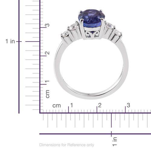 ILIANA 18K White Gold AAA Tanzanite (Ovl 1.91 Ct), Diamond (SI/G-H) Ring 2.200 Ct.