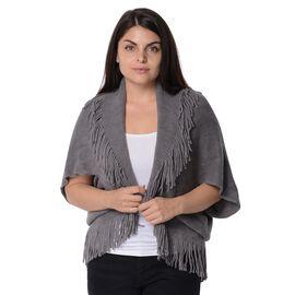 Knit Bat Wing Sleeve Kimono with Tassels (Size 85x45 Cm) - Grey
