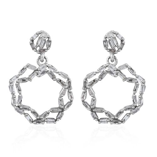 Diamond (Bgt) Circle Earrings in Platinum Overlay Sterling Silver 0.335 Ct.