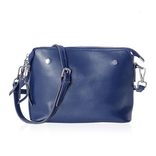 Maddie 100% Genuine Leather Navy Colour Crossbody Bag with Removable Shoulder Strap (Size 24x18x10 Cm)