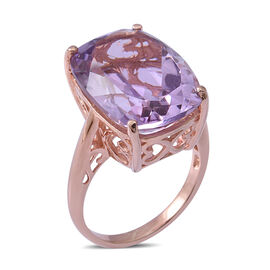 18.93 Ct Rose De France Amethyst Solitaire Ring in Rose Gold Plated Sterling Silver 5.65 Grams
