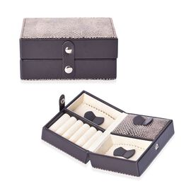 Small Snake Skin Pattern Travel Jewellery Organiser with Button Closure, 5 Ring Rows and 3 Sections