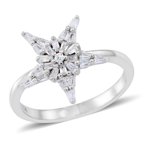 Signature Collection ELANZA Simulated White Diamond (Rnd) Star Ring in Rhodium Plated Sterling Silve