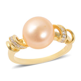 0.24 Ct Freshwater Pearl Golden and White Cubic Zircon Classic Ring in Silver