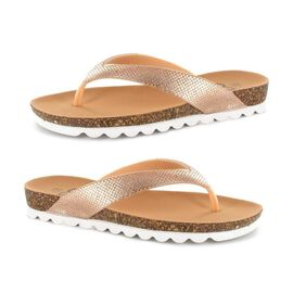 Ella Carly Sparkly Toe Post Sandals in Rose Gold Colour