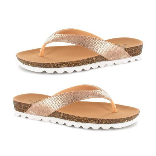 Ella Carly Sparkly Toe Post Sandals (Size 4) - Rose Gold