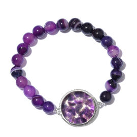 One Time Deal - Amethyst and Purple Onyx Beads Stretchable Bracelet (Size 7.5) in Silver Tone