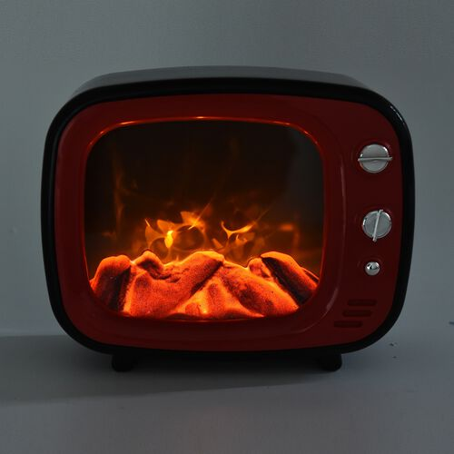 LED TV Fireplace Lamp with USB Cable (Size 26x20x10 Cm) - Red Colour (3xC Battery not Included)