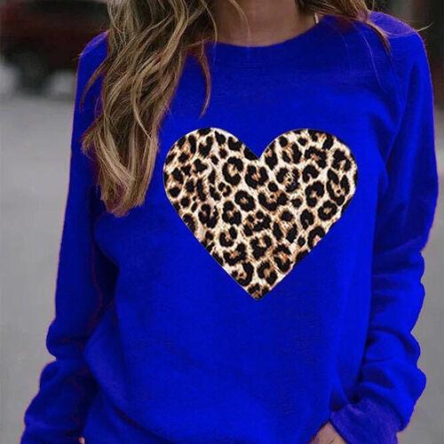 Kris Ana Leopard Heart Sweatshirt (Size S/ 8-10) - Cobalt Blue