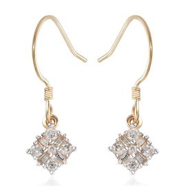 9K Yellow Gold Diamond Drop Hook Earrings 0.50 Ct.