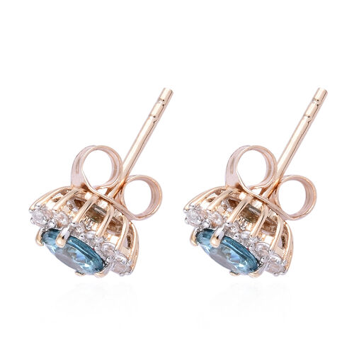 9K Yellow Gold AA Blue Zircon (Rnd), Natural Cambodian Zircon Stud Earrings (with Push Back) 1.550 Ct.