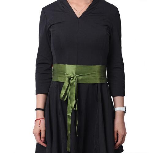 Flower Pattern 100% Mulberry Silk Satin Belt (Size 260 Cm) - Green and White