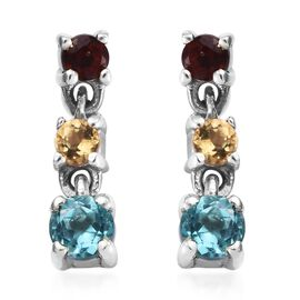 Paraibe Apatite (Rnd), Mozambique Garnet and Citrine Dangle Earrings (with Push Back) in Platinum Ov