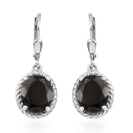 4.25 Ct Elite Shungite Solitaire Drop Earrings in Platinum Plated Sterling Silver