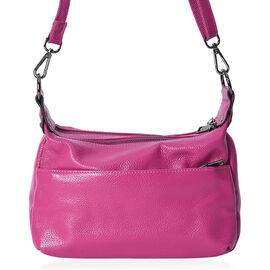 Close Out Deal - 100% Genuine Leather Fuchsia Colour Multi Pocket Crossbody Bag with Removable Shoul